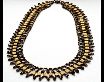 Bronze Beaded Necklace, Statement Necklace, Bronze Necklace, Egyptian Style Necklace, Unique Jewelry, Seed Bead Necklace, Copper Necklace