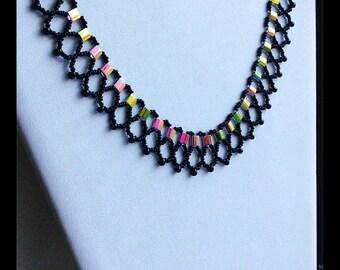 Multicolored Beaded Necklace, Unique Necklace, Black Beaded Necklace, Statement Necklace, Egyptian Style Necklace, Reversible Necklace