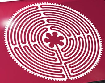 """Chartres Labyrinth Decal / Labyrinth Laptop Sticker / Maze Laptop Decal / Chartres Car Sticker / Maze Sticker / 7.50""""h x 7.50""""w / #147"""