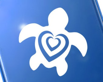 "Heart Turtle Decal, Love Turtle Laptop Sticker, Sea Turtle Auto Decal, Turtle Hearts Window Transfer / 3.50""h x 3.50""w - #1159"