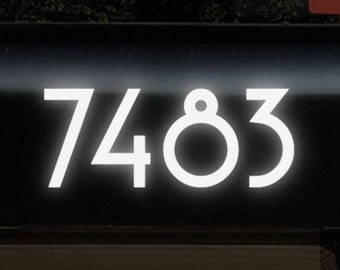 """Reflective Mailbox Numbers Decal, Up to 4"""" High Custom Address Sticker, Personalized Reflective House Numbers Transfer Sheet / #1229R-Single"""