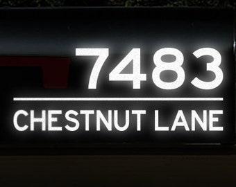 "Reflective Mailbox Address Decal, Custom Street Name Sticker, Personalized House Numbers, Address Transfer / 4"" h x 10"" w - #1277R"