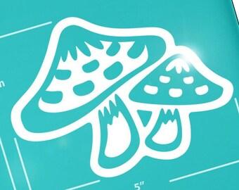 "Mushroom Vinyl Decal, Fairy Toadstool Laptop Tablet Sticker, Cute Cottagecore Fungus Car Window Transfer / 3.75""h x 5""w - #1268"