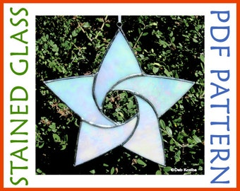 Easy Stained Glass Star Pattern / 5 Point Star Suncatcher PDF / Christmas Star Stain Glass Pattern