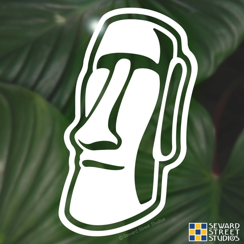 Moai Head Decal Tiki Head Tablet Transfer  5.75h x 3.50w California Kitch Car Decal #1215 Easter Island Face Laptop Sticker