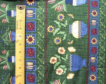 "SSI Debbie Mumm Fabric Green Burgundy Blue Yellow Flowers Pots 1 yard x 44"" Additional Yardage Available"