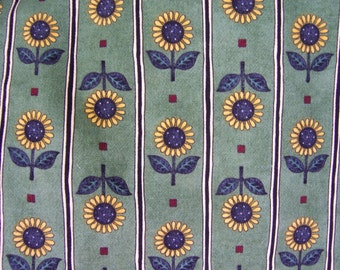 "Debbie Mumm Fabric Green Stripe Yellow Sunflowers 1 yard x 56""  NEW Additional Yardage Available"