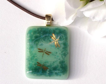 Gold Dragonfly Fused Glass Pendant Necklace - Seafoam Green and Teal Glass - Fused Glass Jewelry