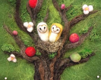 Needle Felted Changing Tree, limited edition, seasons, spring summer fall winter, interactive wall art, Waldorf education, felted tree