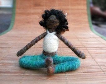 Grace the Needle Felted Yoga Doll (black curly), Original design by Borbala Arvai