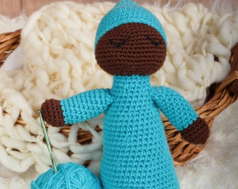 Dark skinned Sleepy Baby Doll with Blue outfit