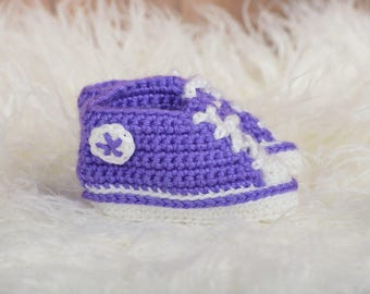 Purple Crochet Sneaker Booties - Crochet Booties - Baby Shower Gift - Going Home Outfit- New Baby Gift