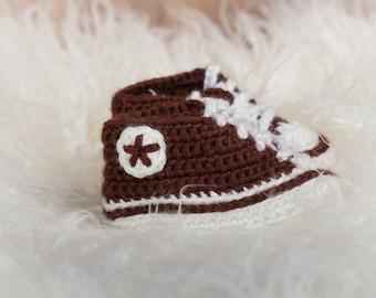 Brown Crochet Sneaker Booties