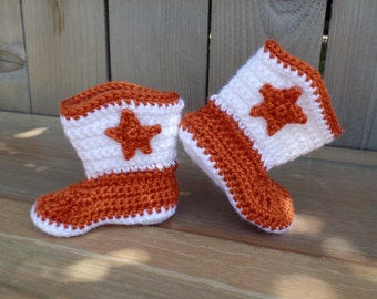 Burnt Orange and White Crocheted Cowboy Booties- 3-6 months