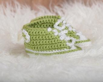 Light Green Crochet Sneaker Booties - Crochet Booties - Baby Shower Gift - Unique Baby Gift - New Baby Gift