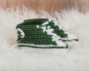 Dark Green Crochet Sneaker Booties - Crochet Booties - Baby Shower Gift - Unique Baby Gift - New Baby Gift