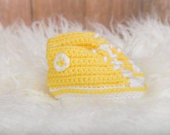 Yellow Crochet Sneaker Booties