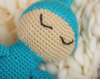 Light Skinned Sleepy Baby Doll with Blue outfit