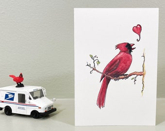 Cardinal love card for mom, anniversary or any loving occasion. Spring cheer card. Blank inside for your personal message.