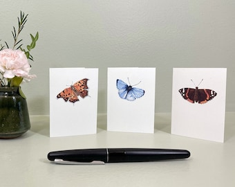 Mini cards with butterfly watercolor illustrations. Set of 6 little enclosure cards, 2 each of 3 designs, with white envelopes. ACEO size.