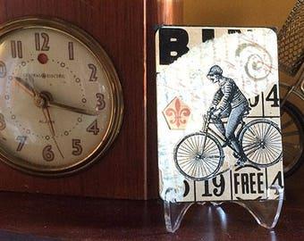 Victorian bicycle art ACEO original collage on vintage Bingo card. Bicycle art card. Mixed media art, shelf decor.