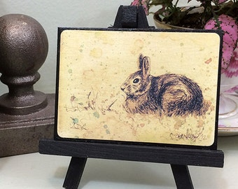Rabbit art print ACEO. Print of watercolor drawing of a bunny, on black mat board, ready to display. Add magnet or easel.