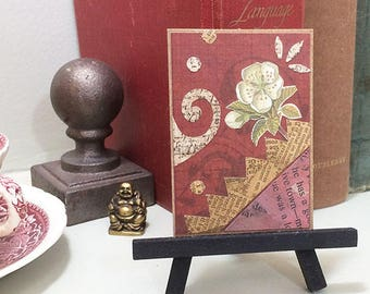 Flower collage art ACEO original. Miniature mixed media art. Add magnet or easel, ready to display. Shelf decor.