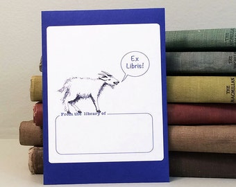 Goat book plate stickers, set of 17 plus one on envelope. Custom printing option for baby showers, bridal showers or personalized gifts.