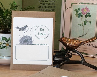 Bird book plate stickers. Ex Libris bird nest bookplates, set of 17 plus envelope. Personalized gift for Mom, graduate, teacher, or Dad.