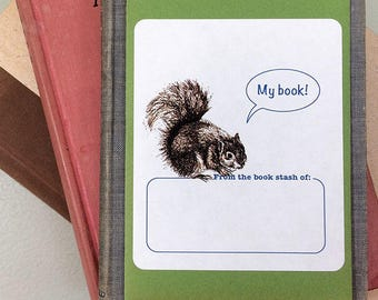 """Book plate stickers featuring a squirrel saying """"My Book!"""" or """"Ex Libris"""". Blank or personalized. Set of 17 plus gift envelope."""