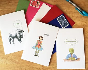 Mix and match 10 note cards and greeting cards. Thank you cards, all occasion cards. 10 cards for half price. Add box for gift set.