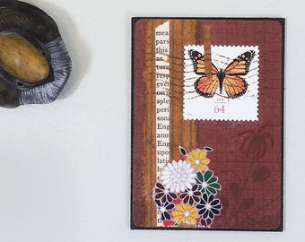 Butterfly collage art ACEO original with monarch postage stamp, flowers, vintage book page scrap. Upcycled art collage miniature.