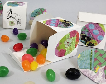 DIY Easter favor boxes for treats & gifts. Paper cube boxes with collage art Easter eggs on white cardstock. 2x2x2 inch cubes, set of 6.