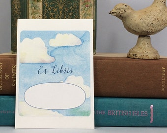 Ex libris book plates with blue sky and clouds. 17 bookplate stickers plus envelope. Can be personalized with name and other text.