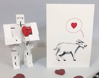 Goat love card for anniversary, wedding, new baby. Cute funny goat card for all loving occasions. Blank inside.