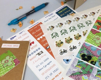 Journal stickers with words and phrases, art, collage. 3 sheets of sticker labels for bullet journals, art journals, mail and packages.