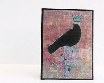 Crow art print ACEO. Urban art photo collage of a crow with a crown. Option to add magnet or easel. Statement art. Desk decor.
