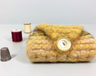 Wool needle case in yellow and olive green with vintage button closure.