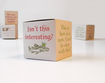 Zen box with mindfulness messages. 6 DIY gift boxes, tiny boxes, 2 x 2 x 2 inch cubes. Message cube. Zen office decor.