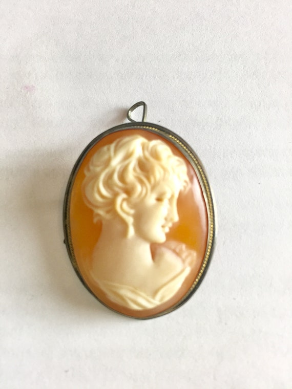 Antique Victorian Cameo Sterling Silver Brooch