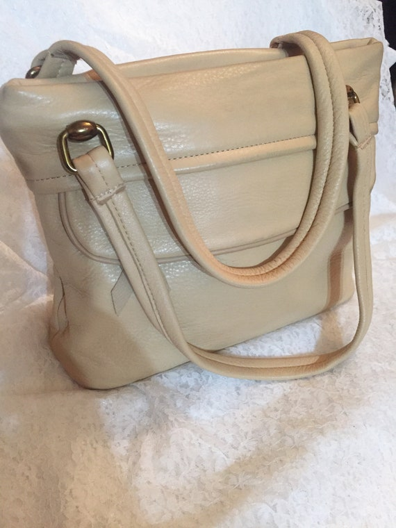 Vintage Deer Wear Beige Leather Handbag