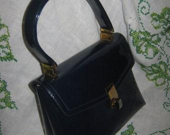 Vintage Koret Dark Blue Patent Leather Handbag Purse Chic Preppy Traditional Stylish Fashionable  Wear