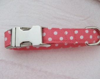 Coral Pink  Polka Dot  Dog Collar Custom Made