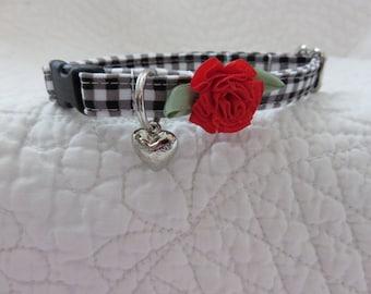 Black Gingham Cat Collar Breakaway Collar Custom Made