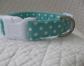 Aqua Polka Dot  Dog Collar Custom Made