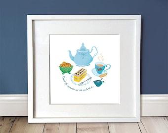 Afternoon Tea Print / Tea Lover / Cake Illustration / Gift Idea / Wall Art / Wall Décor / Home Decor