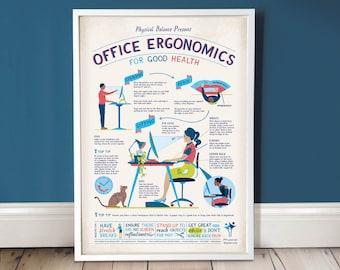Office Ergonomics /  Office Wall Art / Office Decor / A3 Print