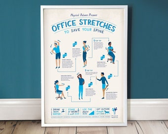 Office Stretches /  Office Wall Art / Office Decor / A3 Print