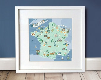 France Map Print / France Illustration Wall Art / Map Print / French Foodie Lovers