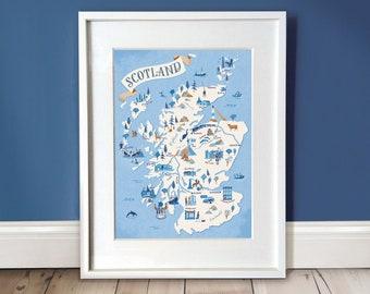 Scotland Map Print / Scotland Illustration Wall Art / Map A3 Print / Scottish Whisky Lovers